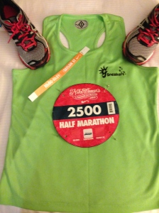 "Bib, wrist band, shirt, shoes. ""Let's do this!"""